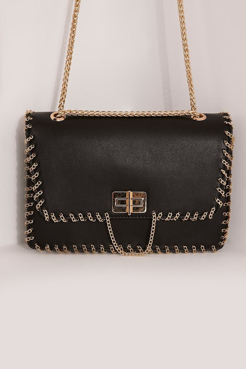 BLACK FAUX LEATHER CHAIN TRIM ENVELOPE BAG