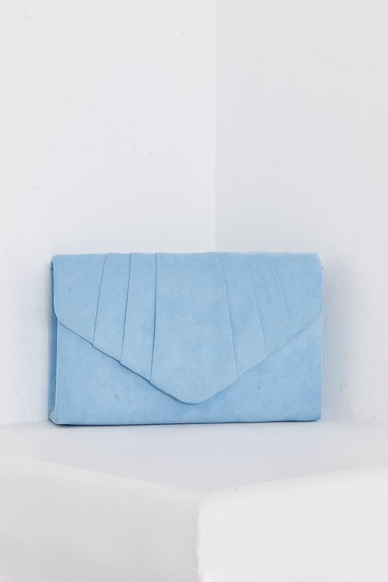 PASTEL BLUE FAUX SUEDE FOLD OVER CLUTCH BAG