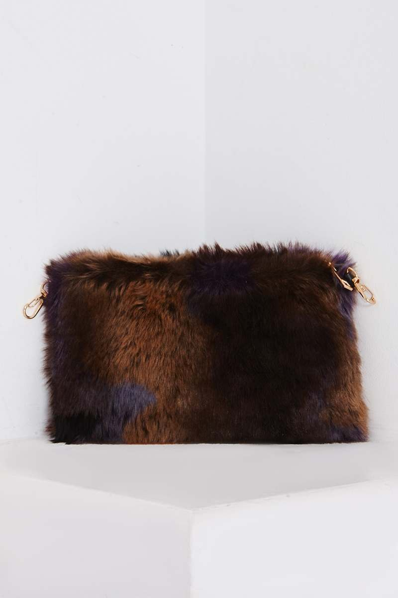 PURPLE MULTICOLOURED FAUX FUR BAG