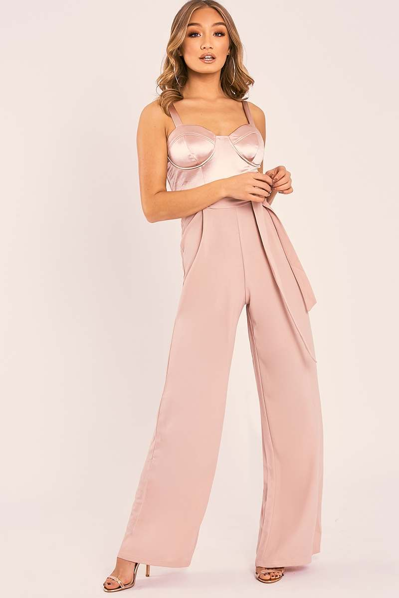 TAISIE NUDE SATIN CUPPED CONTRAST BELTED PALAZZO JUMPSUIT