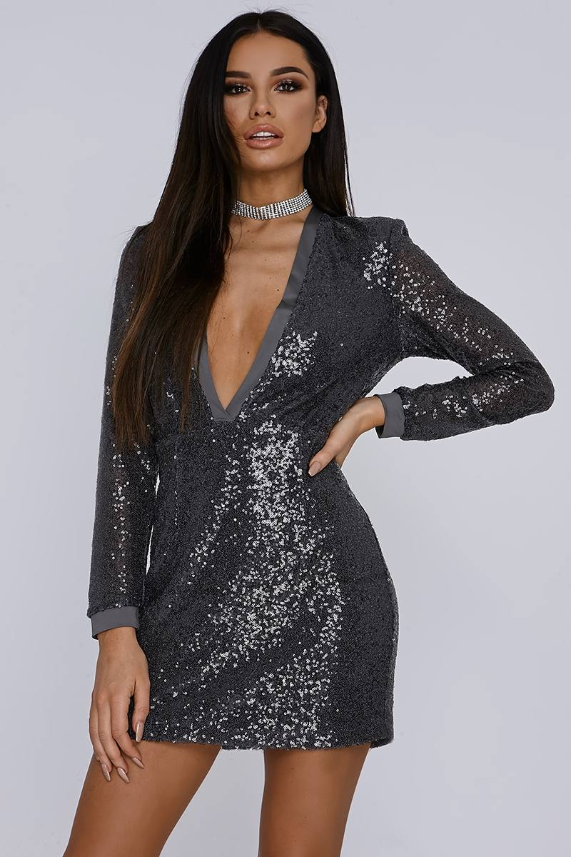 SARAH ASHCROFT CHARCOAL MICRO SEQUIN PLUNGE BODYCON DRESS