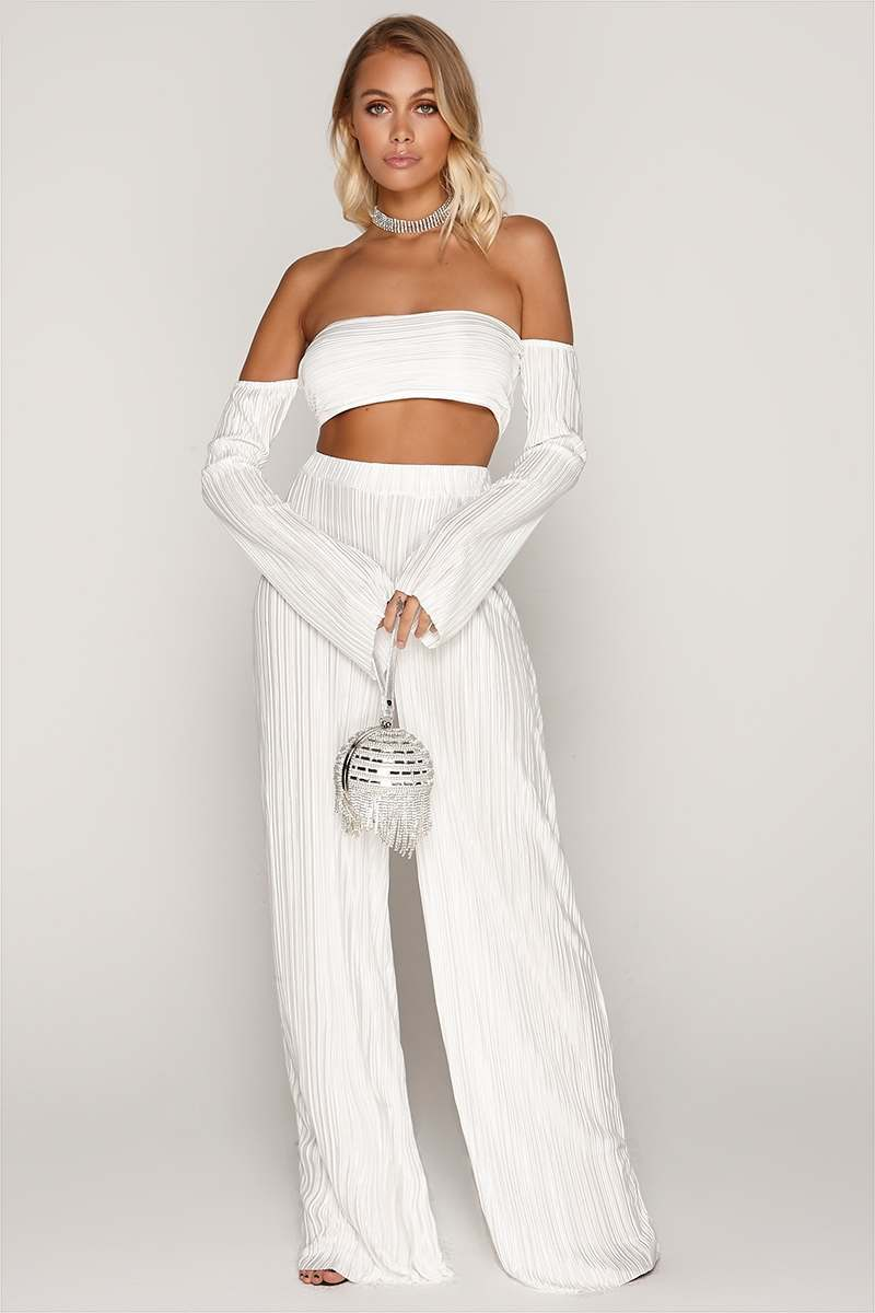 TAMMY HEMBROW WHITE PLEATED PALAZZO TROUSERS