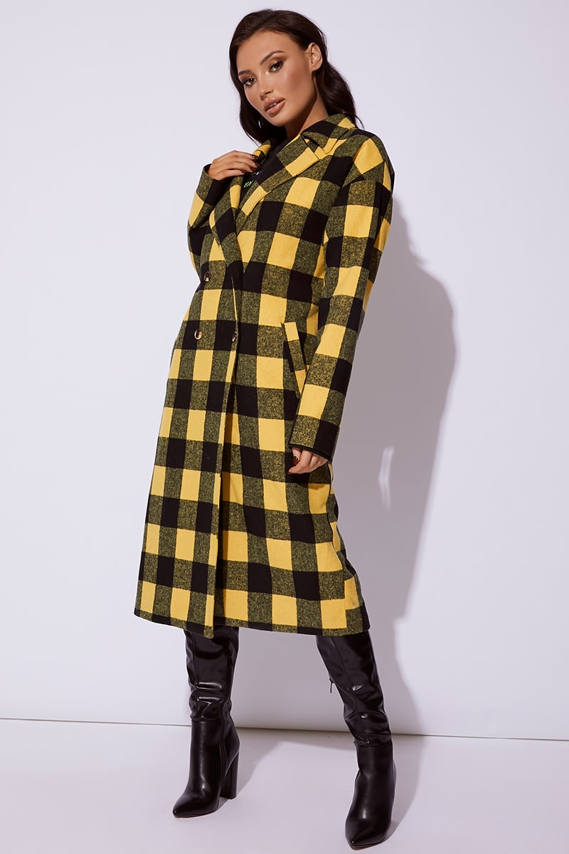 Cc Clarke Yellow Checked Oversized Coat | In The Style Australia