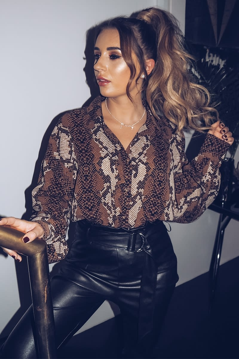 DANI DYER BROWN SNAKE PRINT OVERSIZED SHIRT
