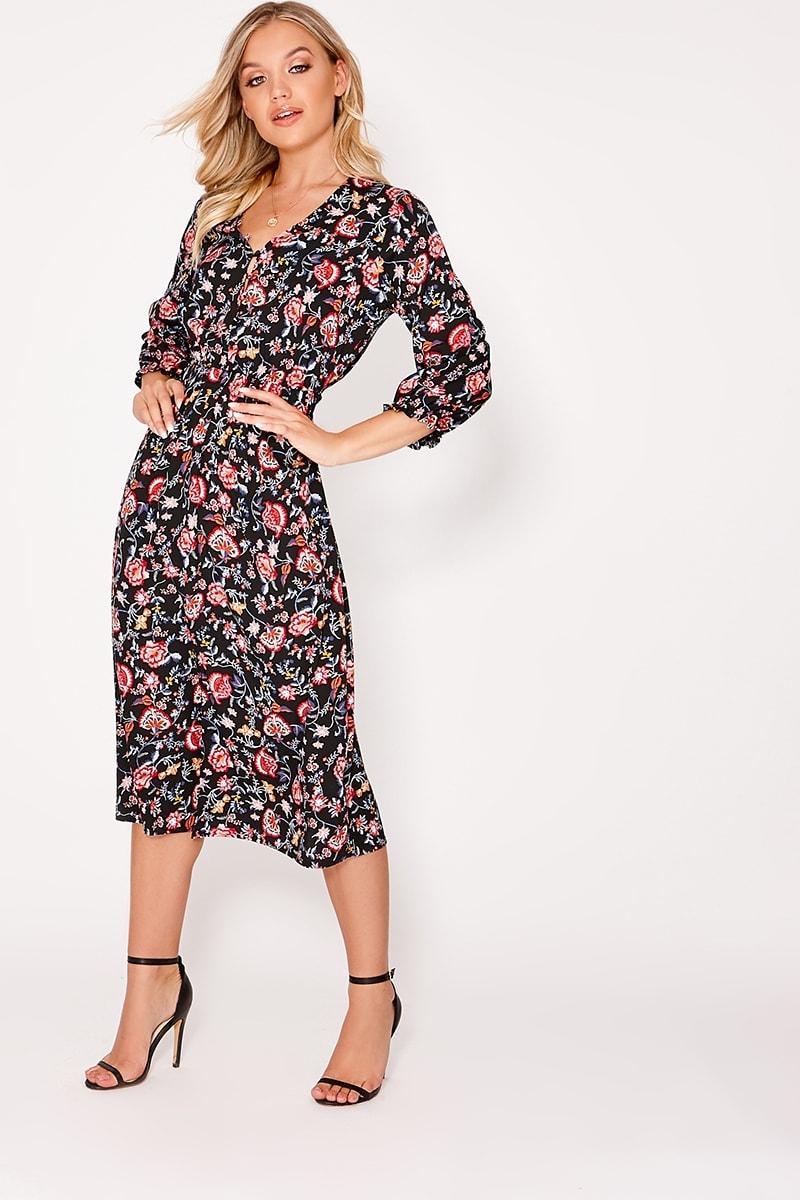black floral button down midi dress