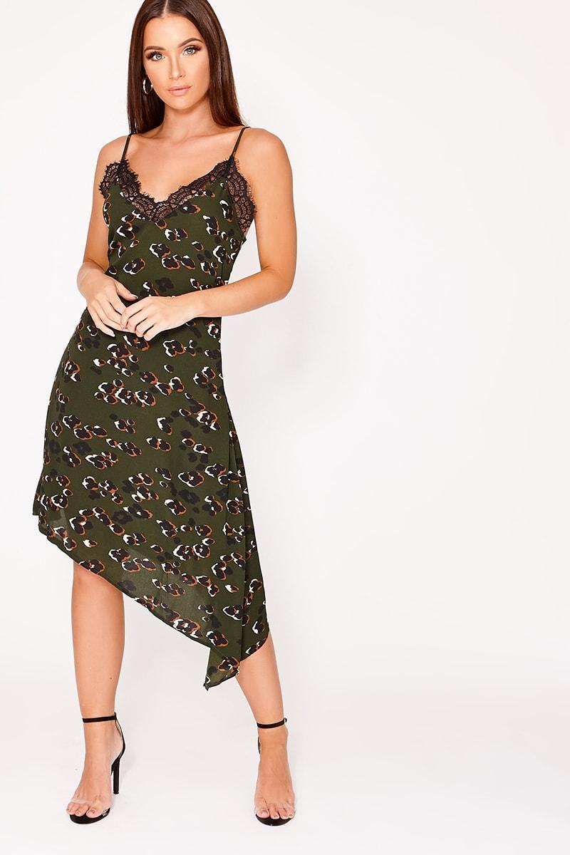 DEMIA GREEN LEOPARD PRINT LACE TRIM SLIP DRESS