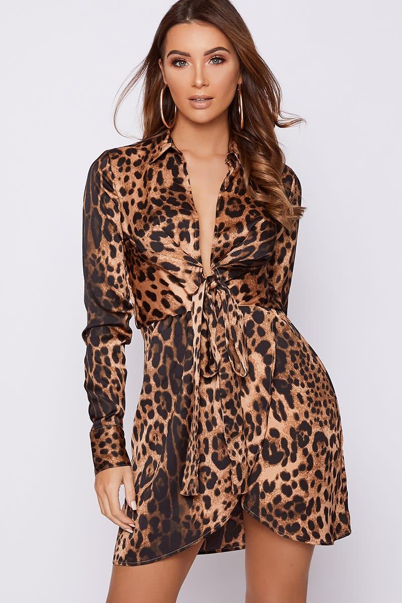 grey brown leopard print tie front satin shirt dress
