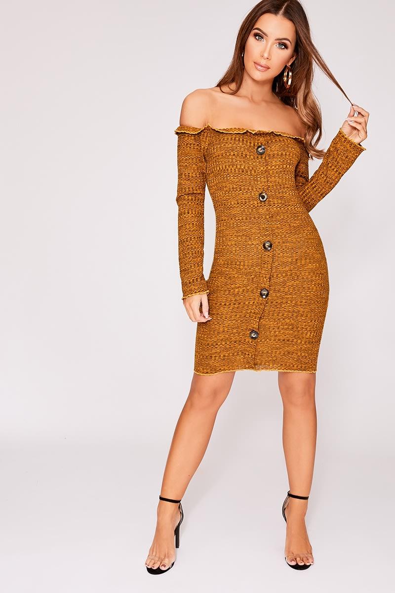 mustard bardot horn button dress
