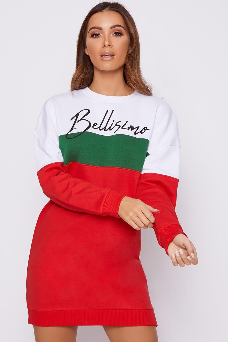 BELLISIMO RED STRIPED SWEATER DRESS