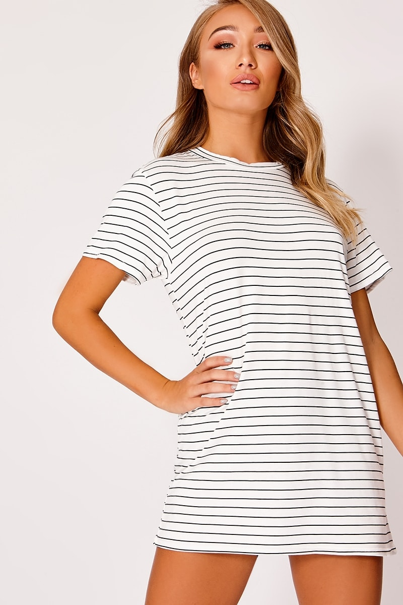 COLLEENA WHITE STRIPED JERSEY T SHIRT DRESS