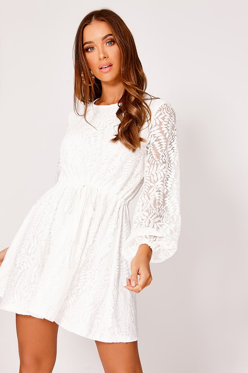 EMANIE WHITE LACE BALLOON SLEEVE SKATER DRESS