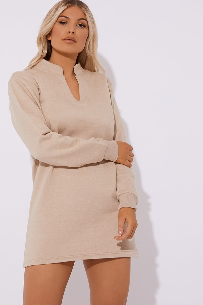 camel fleece lined v neck mini dress