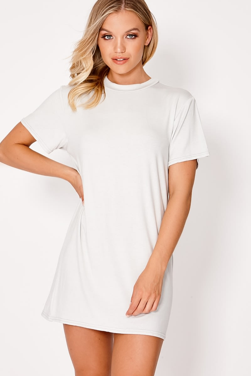 BASIC GREY JERSEY T SHIRT DRESS