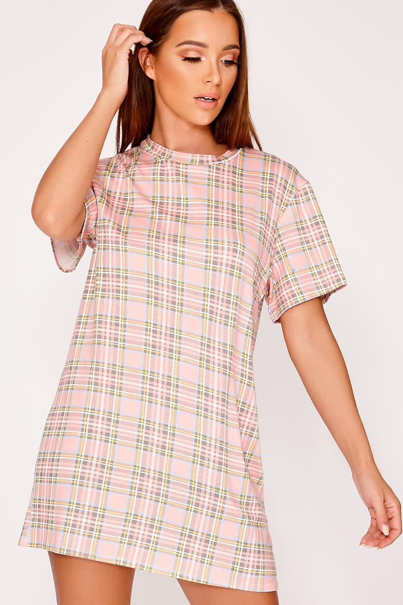 CELLY PINK CHECKED T SHIRT DRESS