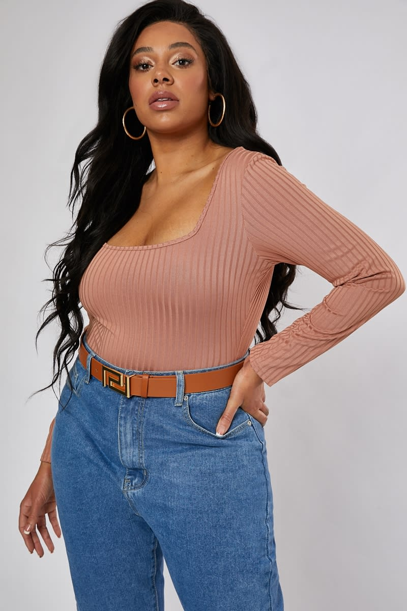 CURVE KAILEEN BLUSH RIBBED SQUARE NECK BODYSUIT