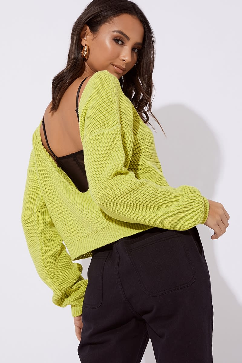 lime v plunge back knitted jumper