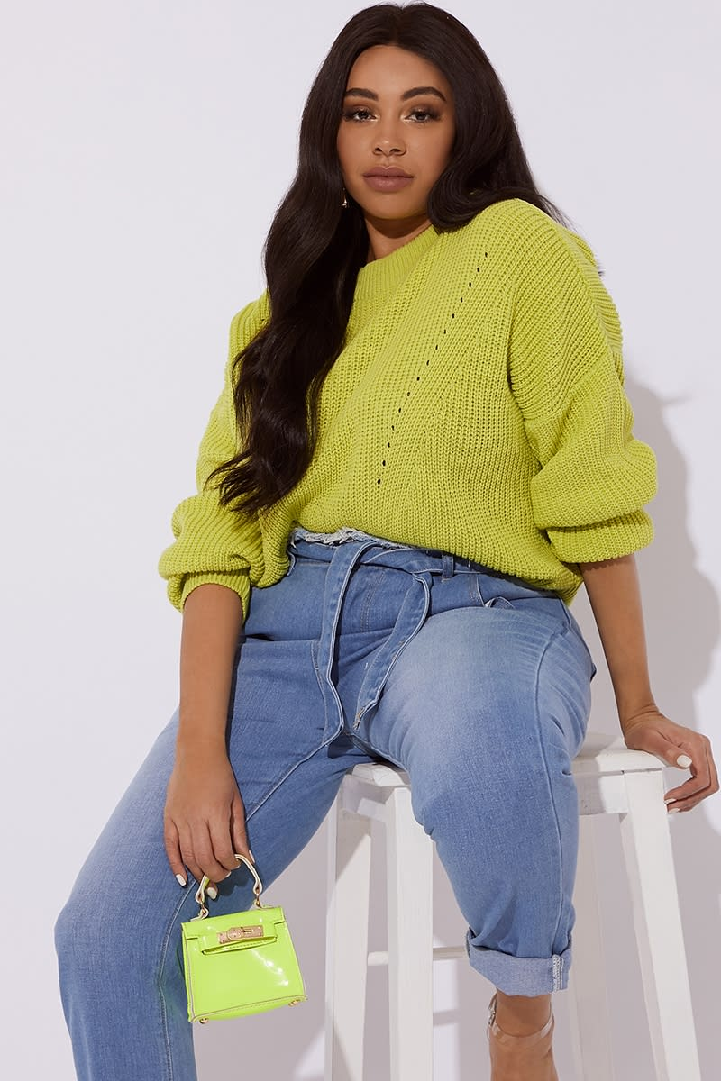 CURVE HARIET LIME CREW NECK RIBBED KNITTED JUMPER