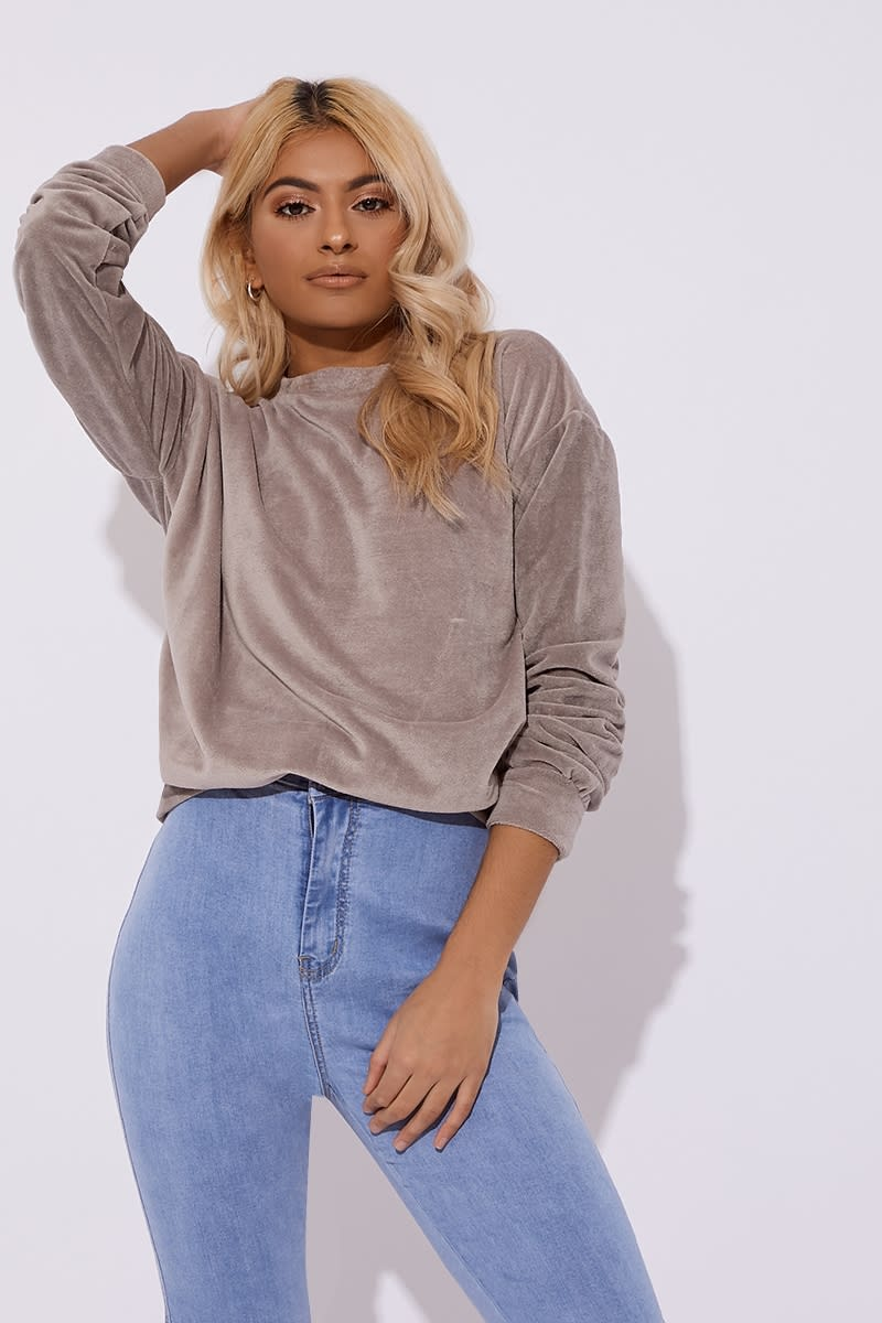 grey teddy velour sweater