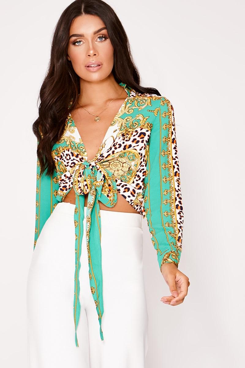 green leopard chain print shirt