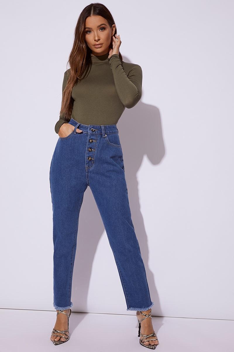 blue denim horn button mom jeans