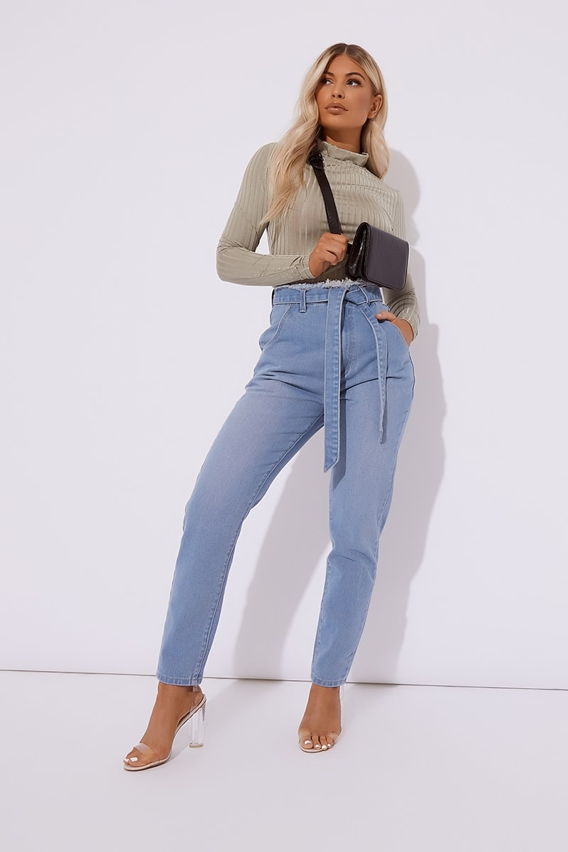 blue tie waist slim fit jeans