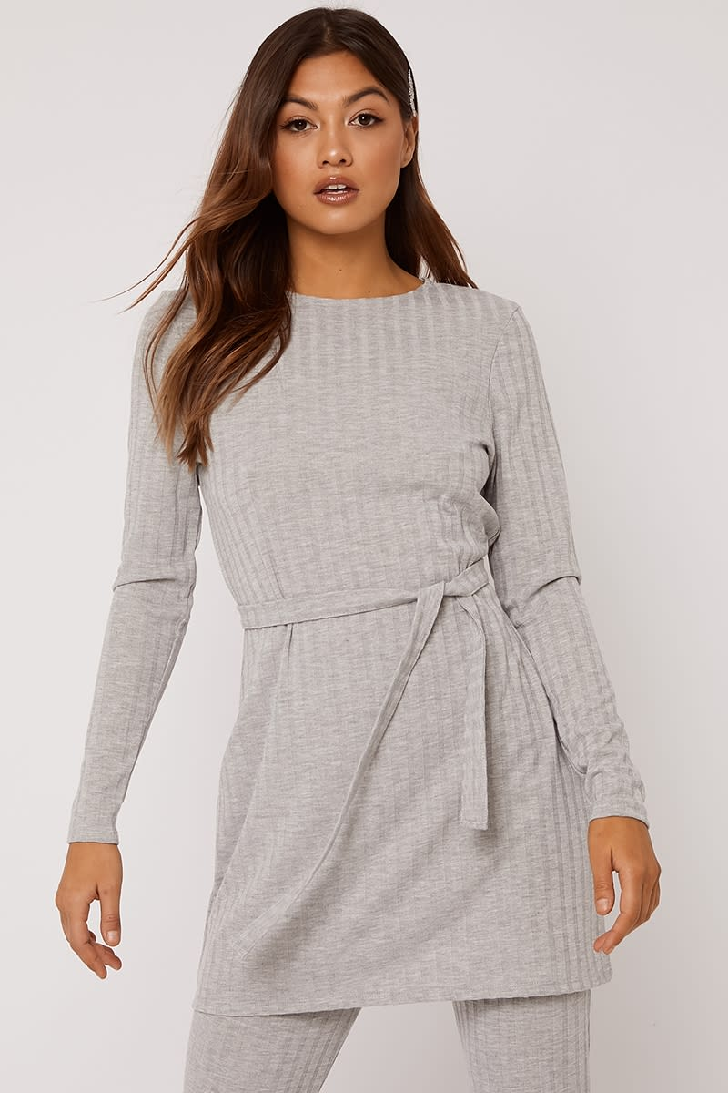 grey marl ribbed longline co-ord top