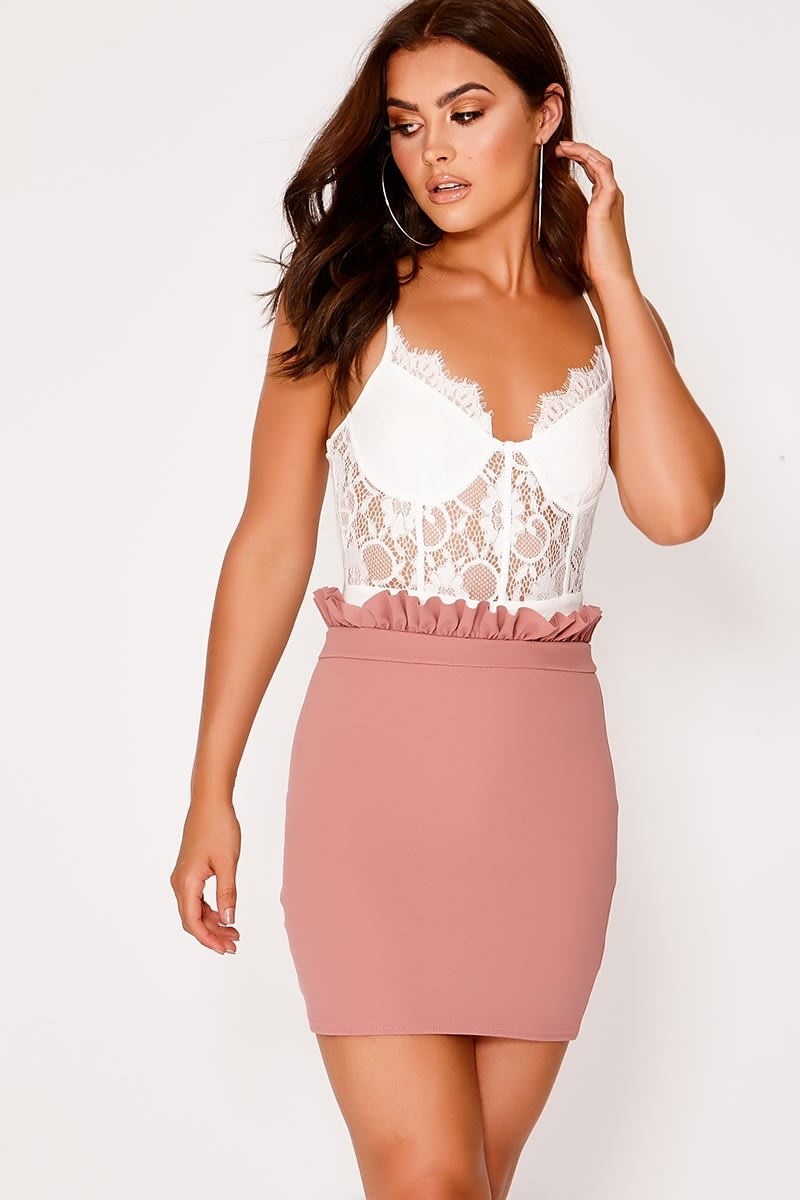 BASIC ROSE PINK PAPERBAG WAIST MINI SKIRT