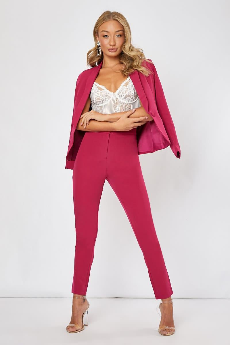 raspberry co-ord cigarrete trousers