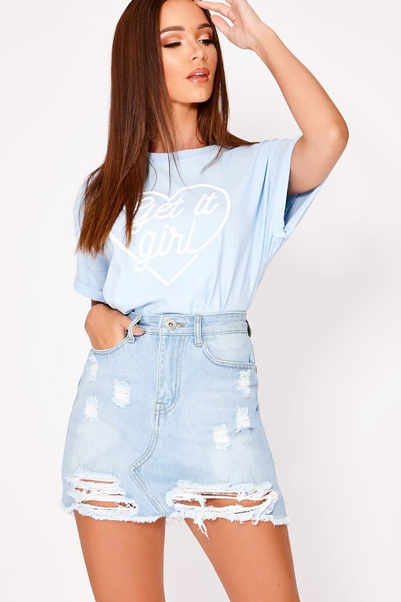 UNDINA LIGHT BLUE DISTRESSED RIPPED DENIM MINI SKIRT