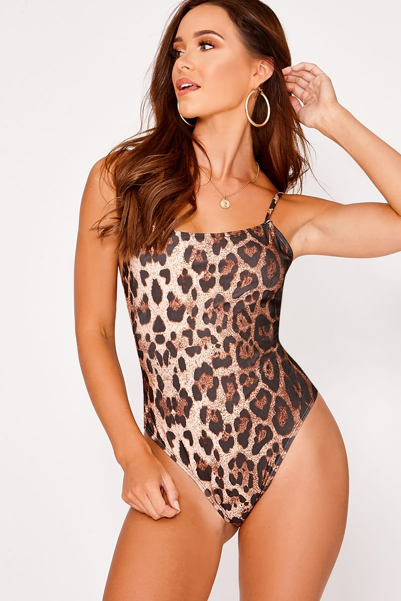 KASSI LEOPARD PRINT LOW BACK SWIMSUIT