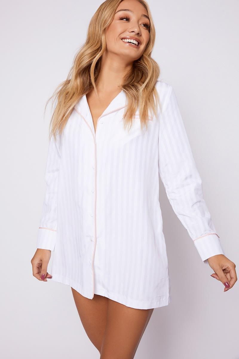 white stripe piping detail night dress