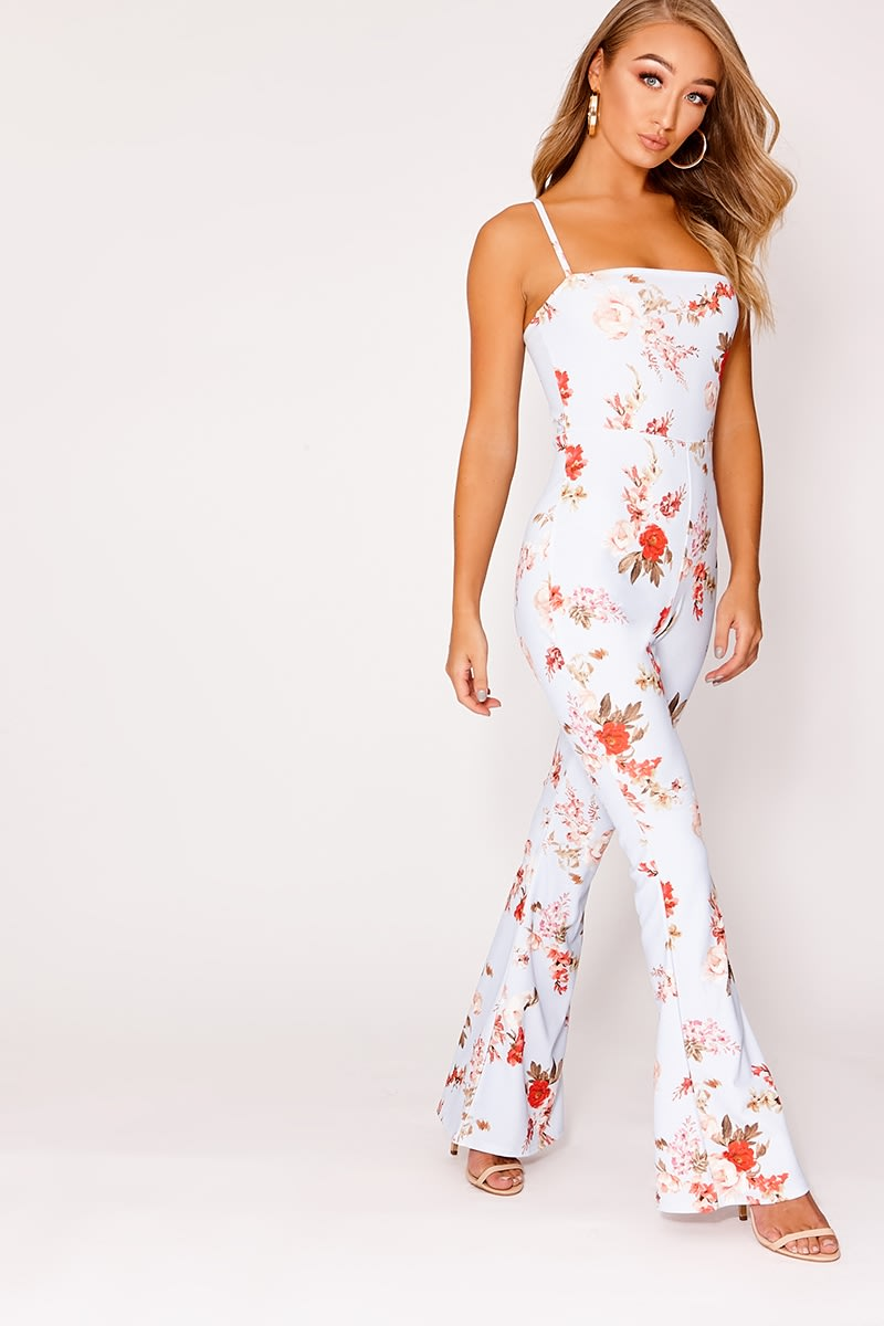 ASALIA BLUE FLORAL SQUARE NECK FLARED LEG JUMPSUIT