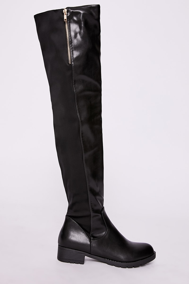 black faux leather zip detail over the knee boots