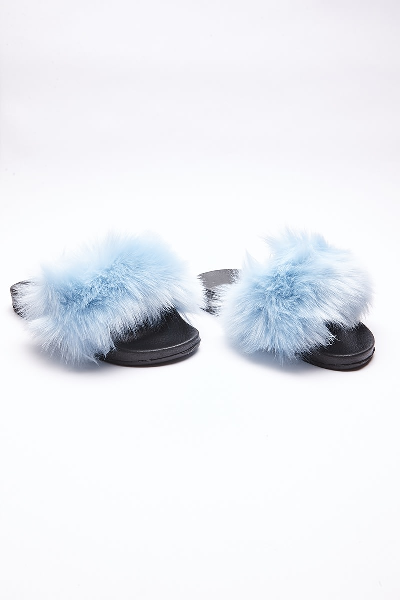 SADAH BLUE FLUFFY SLIDERS
