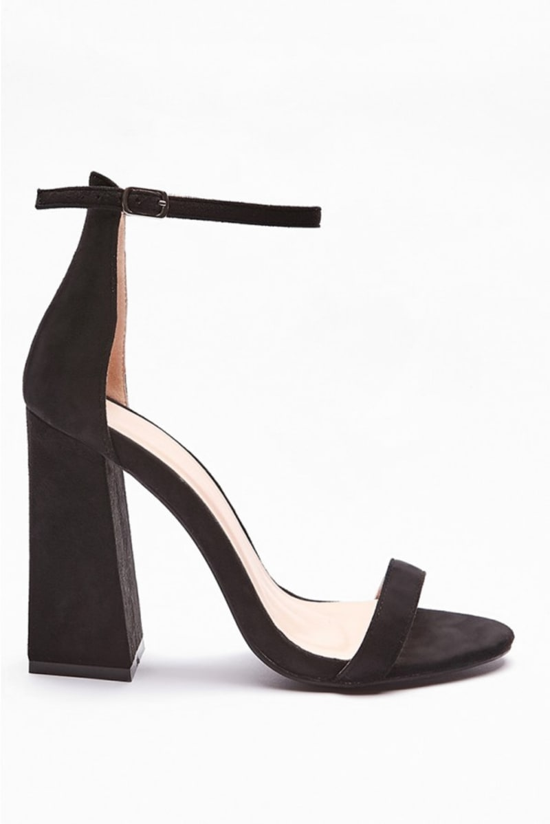 VALORY BLACK FLARED BARELY THERE HEELS