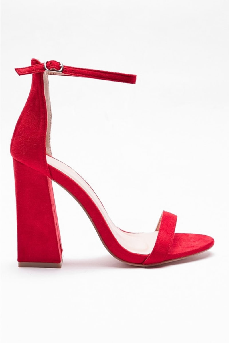 VALORY RED FLARED BARELY THERE HEELS