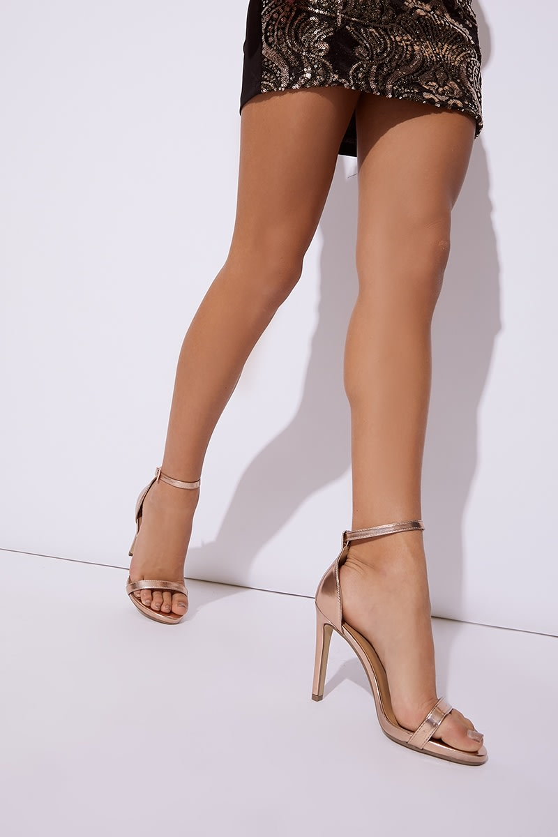 rose gold patent ankle strap barely there heels