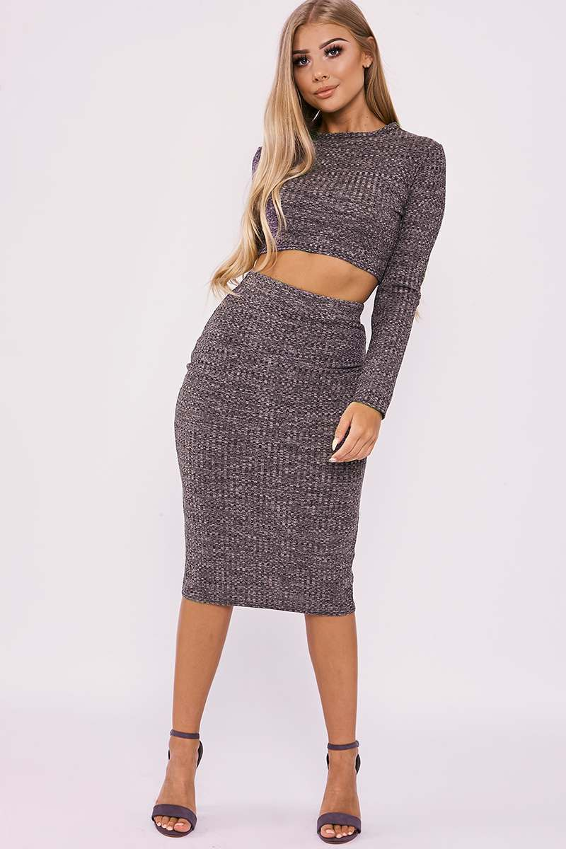 BILLIE FAIERS NUDE MARL RIBBED KNIT SKIRT