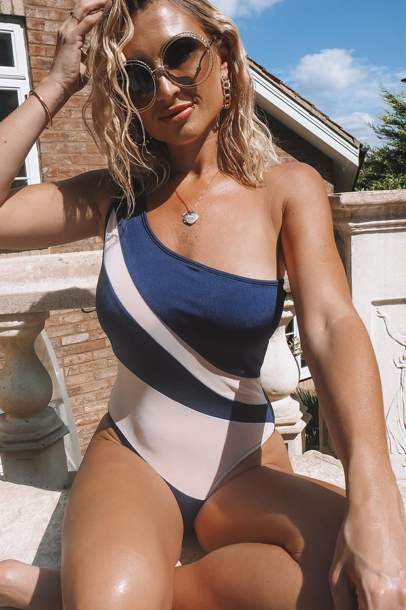 BILLIE FAIERS NAVY NUDE MESH CUT OUT SWIMSUIT