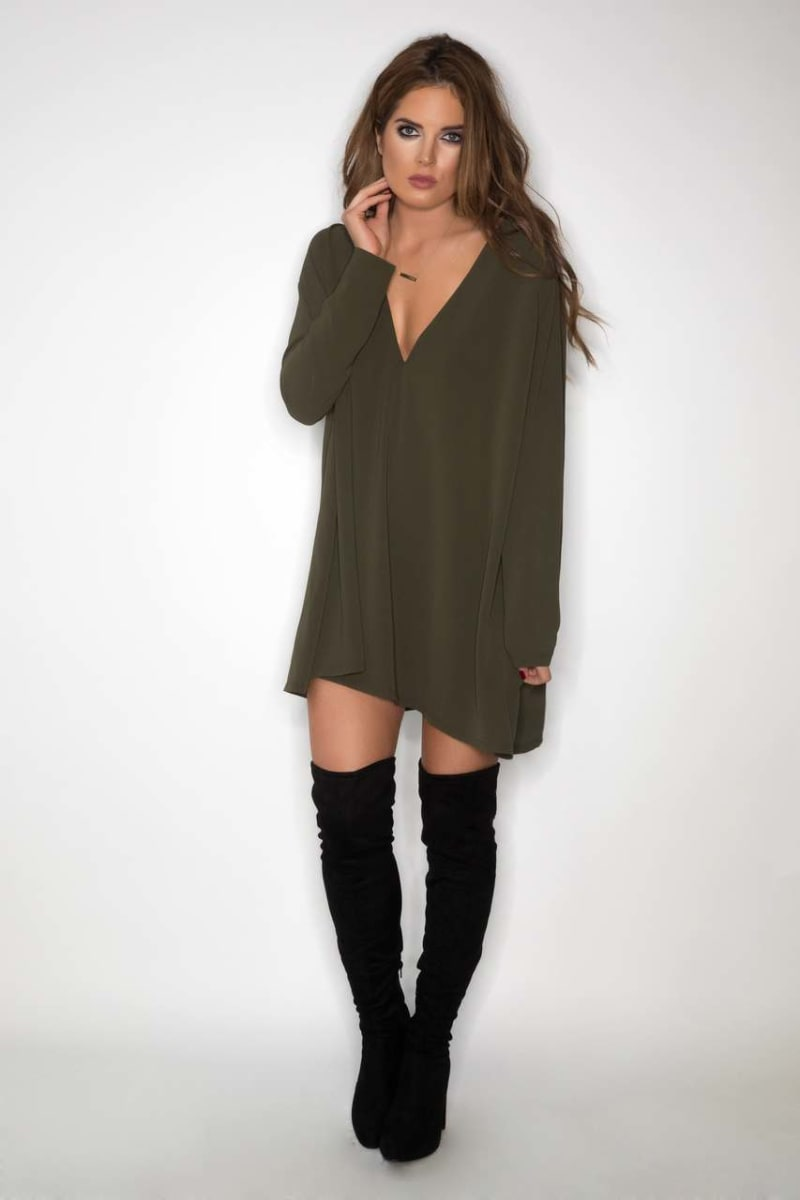 Binky Khaki Plunge Neck Drape Dress