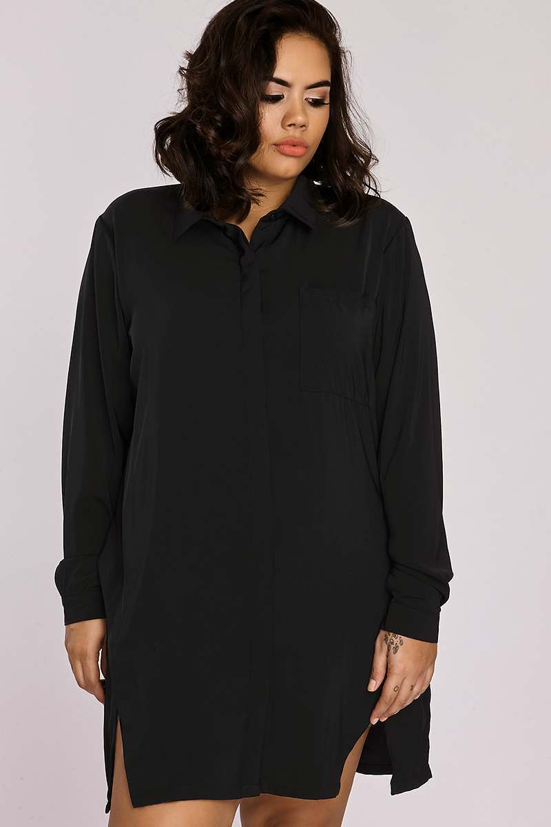 Curve Binky Black Split Front Shirt Dress