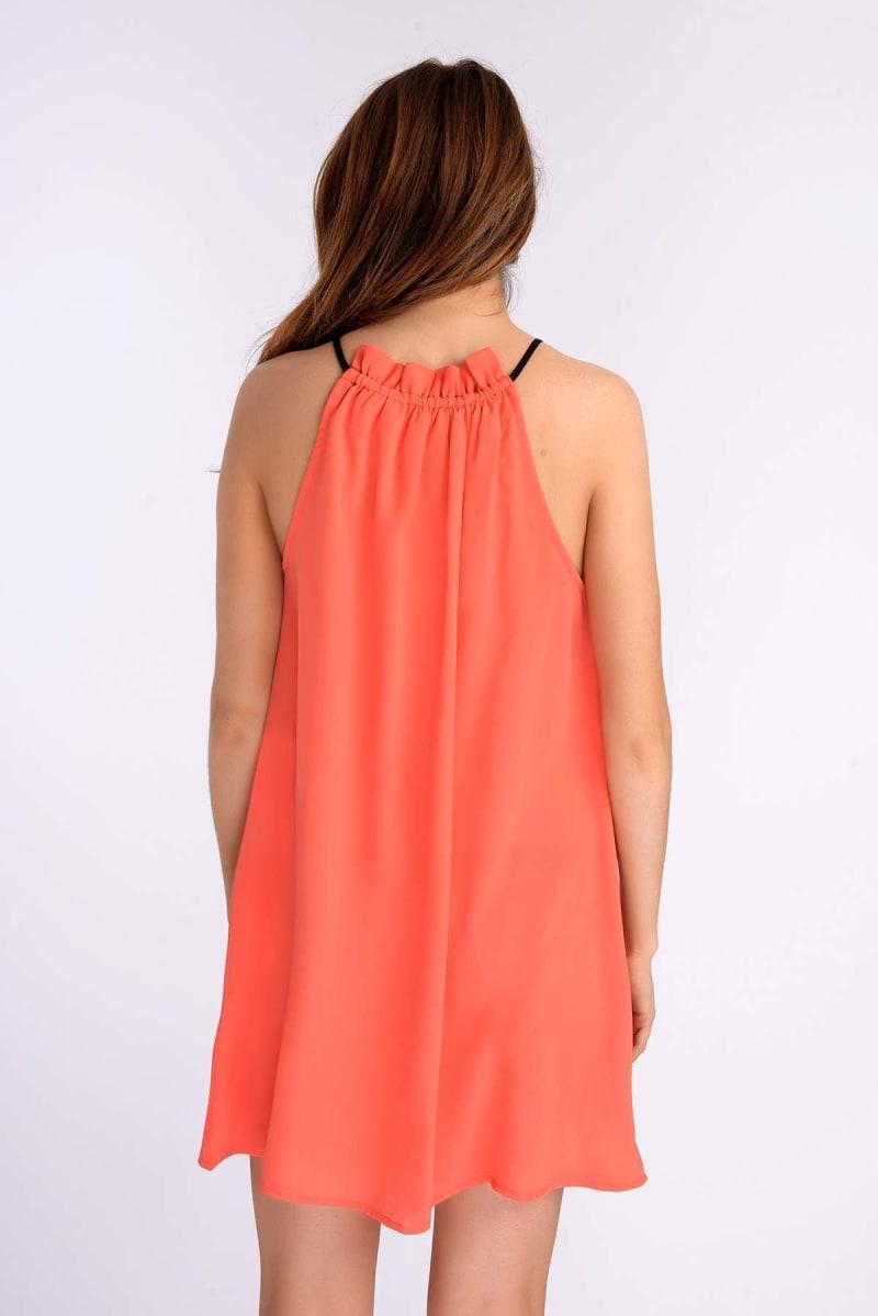Binky Coral Fringe Tie Neck Dress