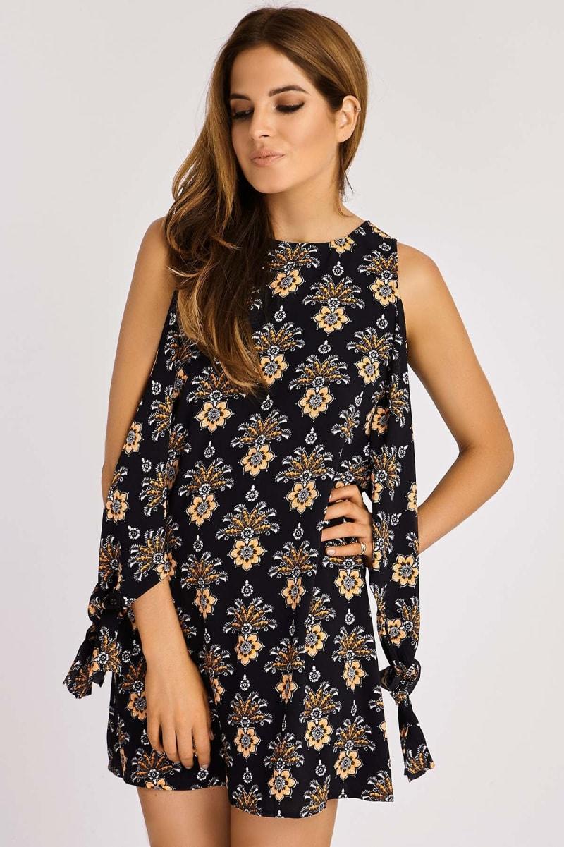 Binky Floral Print Tie Detail Dress