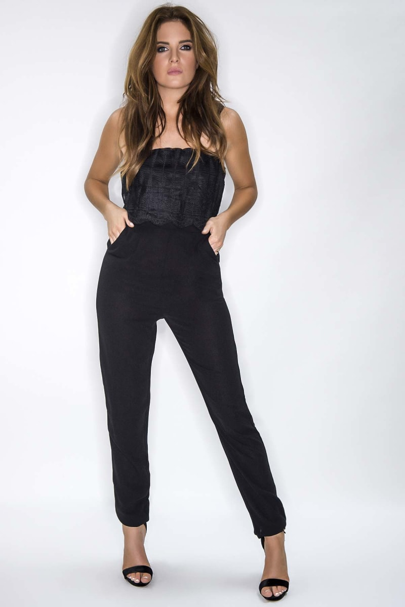 Binky Black Embroidered Organza Overlay Jumpsuit