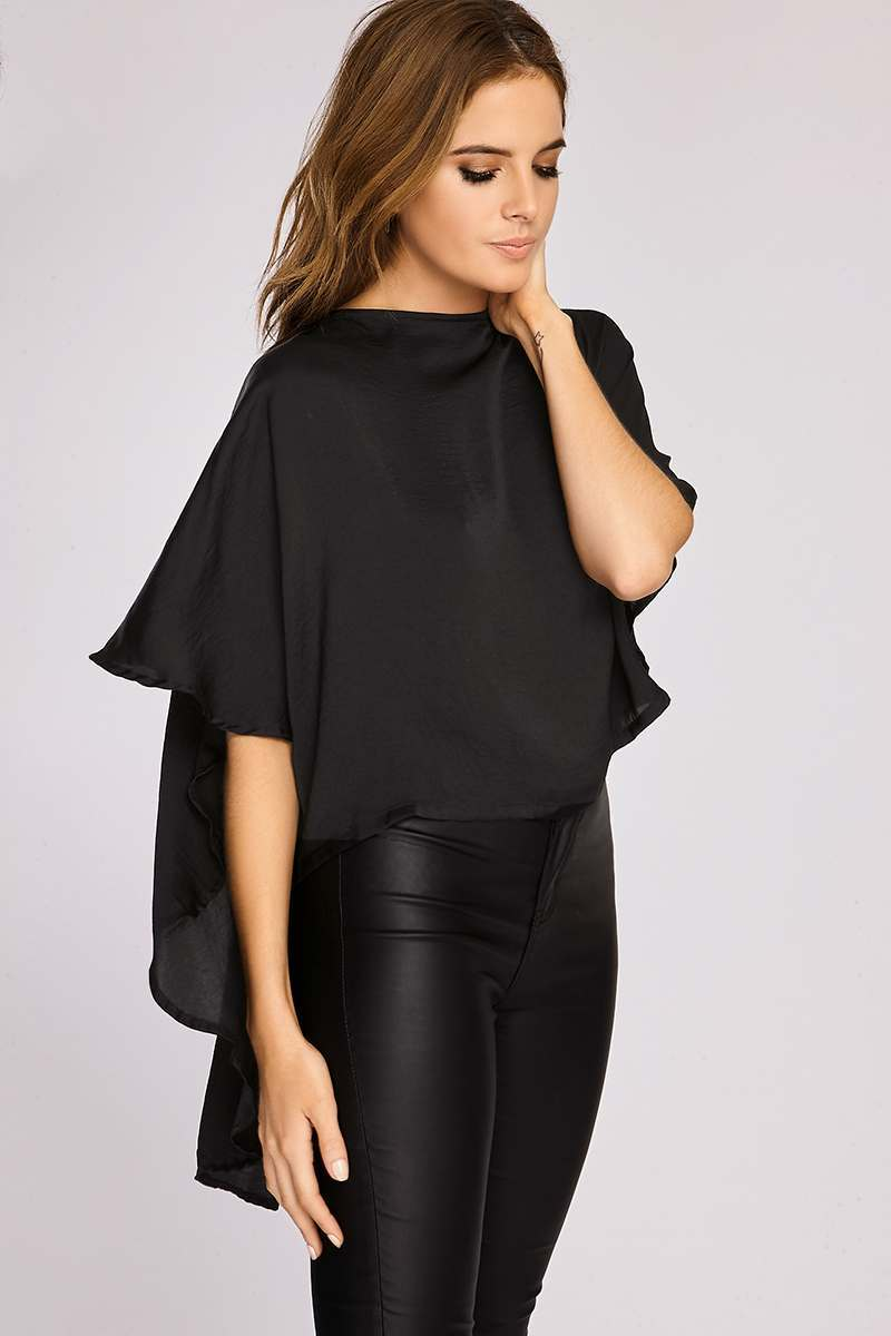 Binky Black Silky Cape Back Top