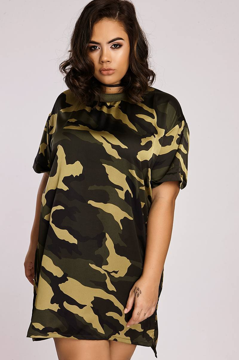 Curve Binky Camo Print Oversized Tee Dress