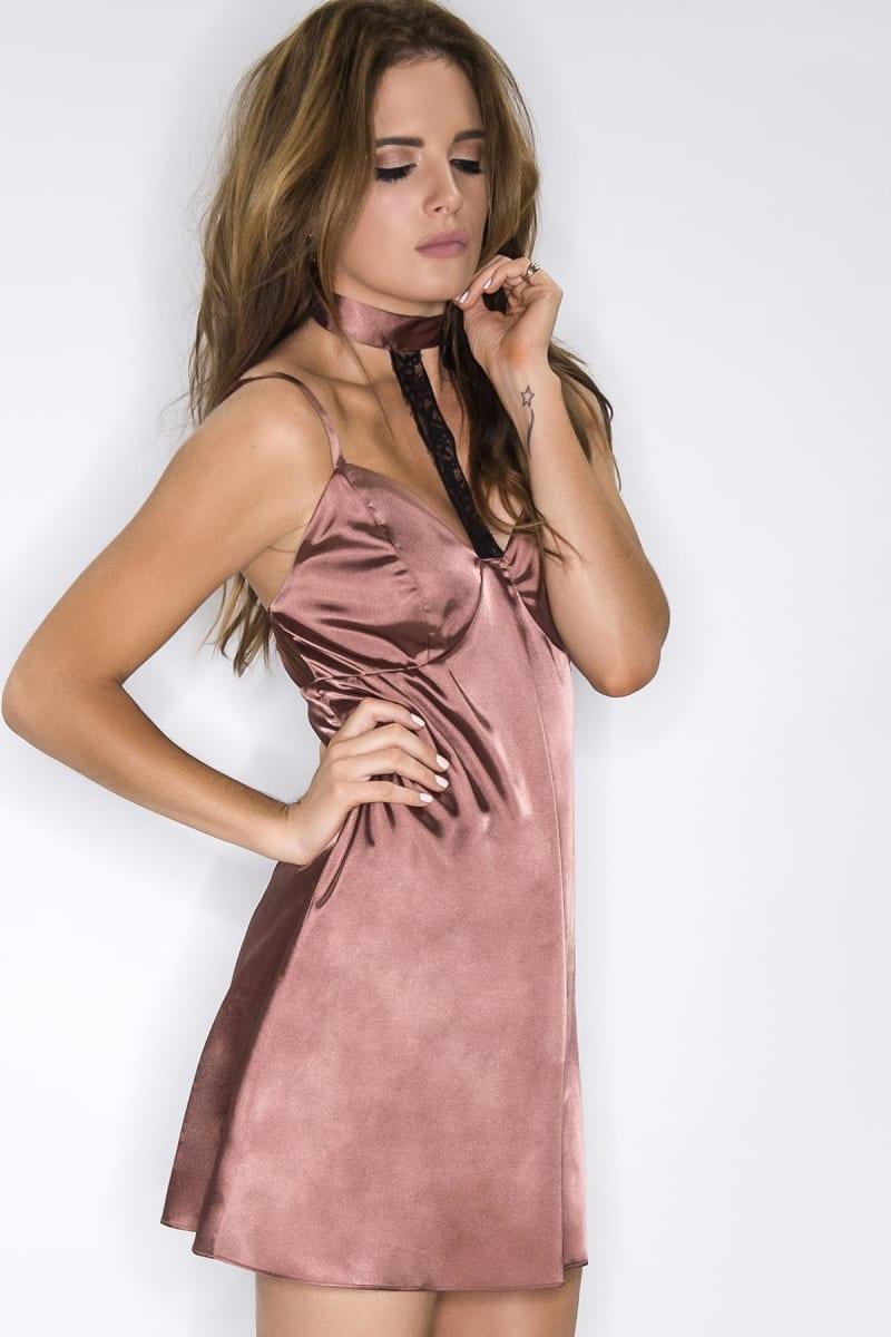 Binky Rusty Rose Satin Lace Choker Slip Dress