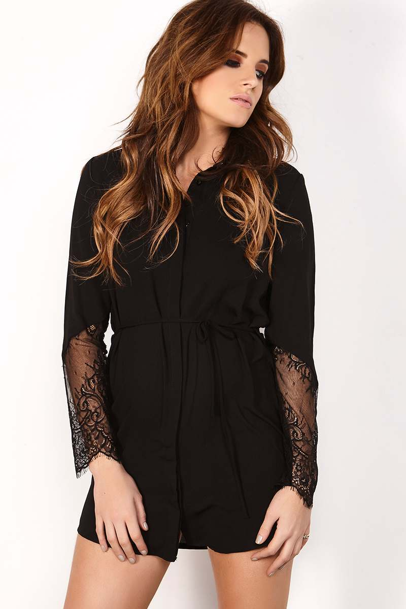 BINKY BLACK LACE SLEEVE SHIRT DRESS