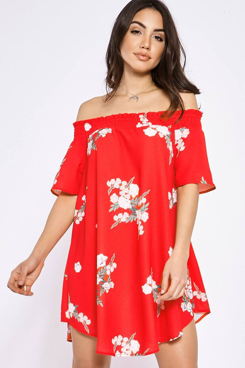 BINKY RED FLORAL BARDOT SWING DRESS