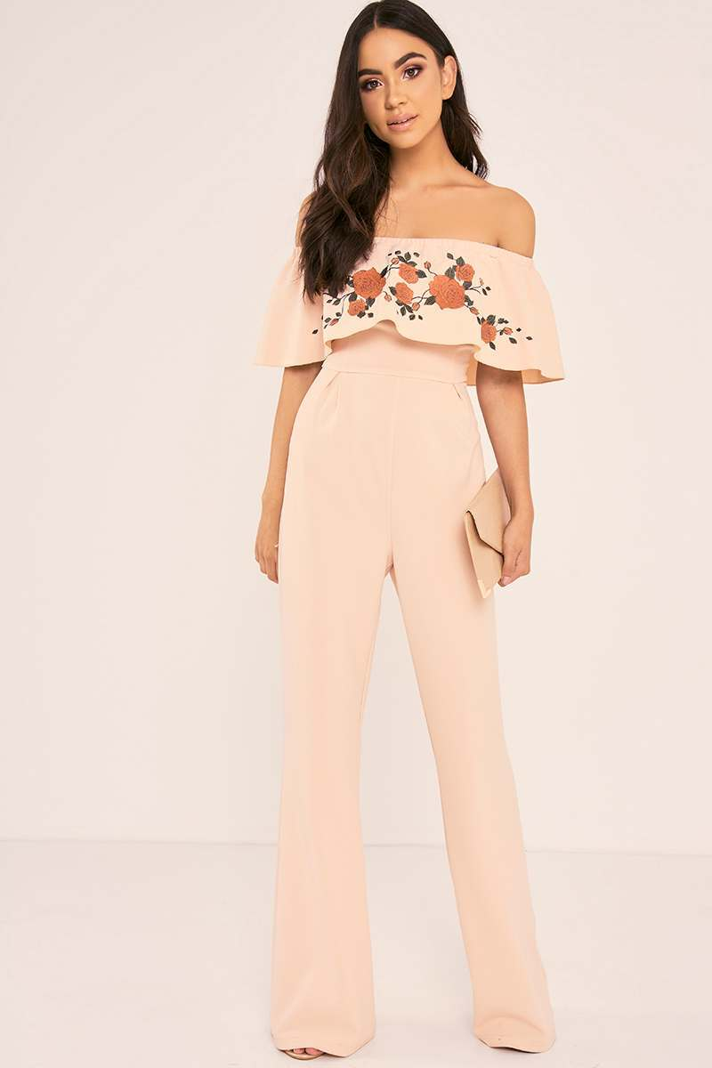 BINKY NUDE FLORAL EMBROIDERED BARDOT FRILL PALAZZO JUMPSUIT
